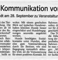 BT Bericht 25.09.2019 Einblicke Kommunikation Hund zu Hund am 28.09.19